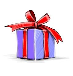 Present box cartoon sketch vector image
