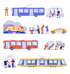 public transport flat set vector image