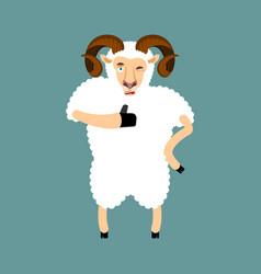 Ram thumbs up and winks emoji sheep farm animal vector