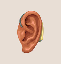 Realistic hearing aid and ear vector