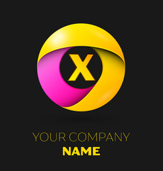 Realistic letter x logo in colorful circle vector