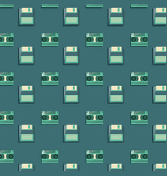 Retro cassettes and diskettes background vector