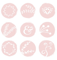 round brush strokes with floral design elements vector image