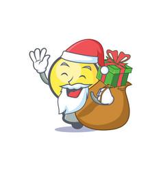 santa light bulb character cartoon with gift vector image