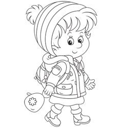 Schoolchild in winter clothes vector