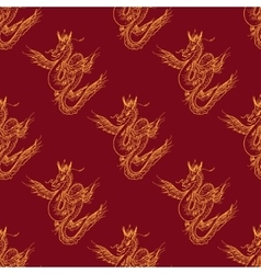 Seamless pattern with magic fly dragon vector