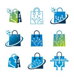 Set digital logo online shopping vector