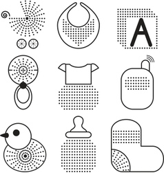 Set of black babys symbols vector image