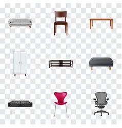 set of design realistic symbols with office chair vector image