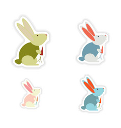 Set of paper stickers on white background rabbit vector