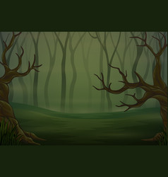 Silhouettes trees in dark night forest vector
