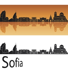 Sofia skyline in orange background vector