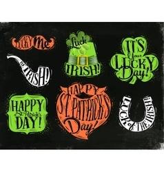 St Patrick symbols chalkboard vector