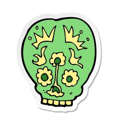 sticker of a cartoon sugar skull vector image