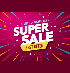 Super sale banner design with party background vector
