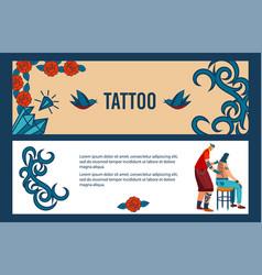Tattoo artist at work cartoon vector