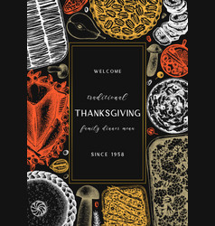 Thanksgiving day dinner menu design on chalkboard vector
