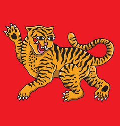 tiger animal drawing on background red vector image