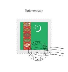 Turkmenistan Flag Postage Stamp vector