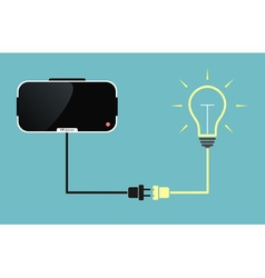 Virtual reality glasses connected to light bulb vector