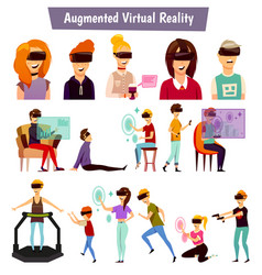 Virtual reality people orthogonal icons vector