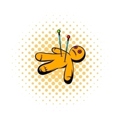 Voodoo doll icon comics style vector image