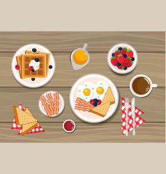 Waffles with fried eggs and sliced bread vector