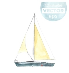 Watercolor boat with sails vector image