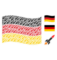 waving germany flag pattern of missile launch vector image