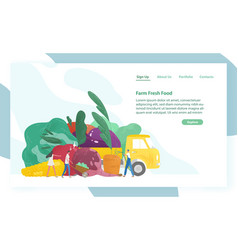 website template with giant vegetables truck and vector image