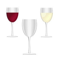 Wine glasses - empty red wine and white wine vector image