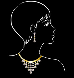 Woman in jewelry vector