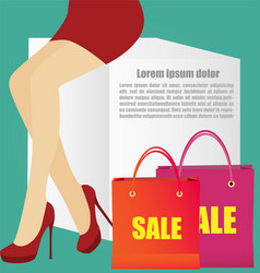 Woman legs with high heels shoes and copy space vector