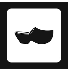 Wooden shoe icon simple style vector