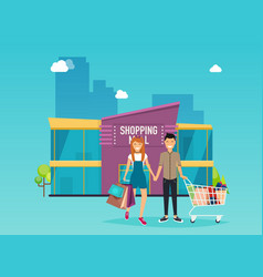 boy and girl do shopping shopping mall building vector image vector image