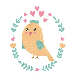 Cute bird print for kids vector image