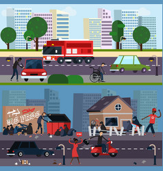 downtown and ghetto character composition set vector image vector image