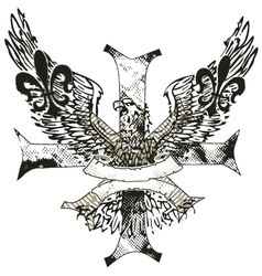 eagles cross and shield emblem vector image vector image