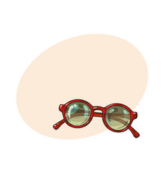 fashionable round sunglasses in red plastic frame vector image