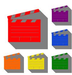film clap board cinema sign set of red orange vector image