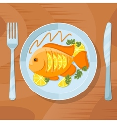 Fresh fish healthy dinner Delicious dish vector image vector image
