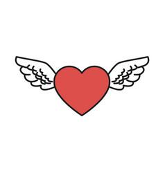 heart wings love romantic design vector image