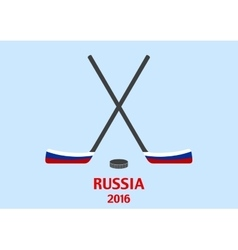 Hockey sticks and puck with the Russian flag vector image vector image