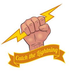 Realistic hand holding lightning bolt vector image