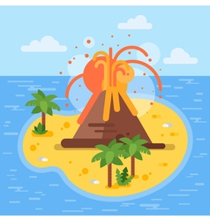 flat style of volcano on tropical island vector image