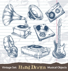 hand drawn musical objects vector image vector image