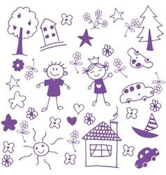 Happy child doodle art vector image vector image