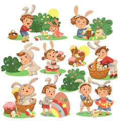 set of happy kids in bunny costume with ears vector image
