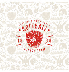 baseball seamless pattern and emblem of softball vector image