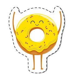 happy donut cartoon character vector image vector image